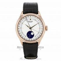Rolex Cellini Moonphase Automatic 39mm 18k Rose Gold White Dial 50535 PA4VLT - Beverly Hills Watch