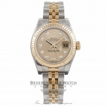 Rolex Datejust Ladies 26mm 18k Yellow Gold Stainless Steel Fluted Bezel Champagne Diamond Dial 179173 - Beverly Hills Watch Company Watch Store