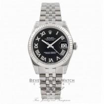 Rolex Datejust 31MM Stainless Steel Jubilee Bracelet 18K White Gold Fluted Bezel Black Roman Numeral Dial Ladies Watch 178274 Beverly Hills Watch Store