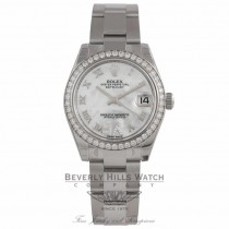 Rolex Datejust 31mm Stainless Steel Diamond Bezel With Mother Of Pearl Dial Diamond Six Numeral 178384 Y8C12Y