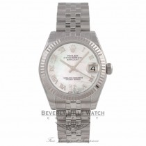 Rolex Datejust 31MM 18k White Gold Fluted Bezel Stainless Steel White Mother of Pearl Dial Roman Numerals Jubilee Bracelet 178274 9V42AM - Beverly Hills Watch Company Watch Store
