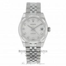 Rolex Datejust 31mm Stainless Steel White Gold Diamond Dial Fluted Bezel 178274 R6U781 - Beverly Hills Watch