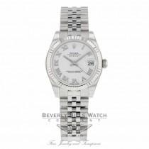Rolex Datejust 31MM Stainless Steel White Dial Roman Numerals Jubilee Bracelet 178274 - Beverly Hills Watch