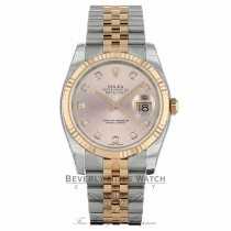 Rolex DateJust 36mm 18k Rose Gold and Stainless Steel Pink Dial 116231 MQMZ90 - Beverly Hills Watch Company