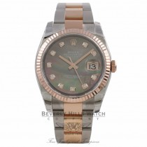 Rolex DateJust 36mm 18k Rose Gold and Stainless Black Mother of Peal Diamond Dial 116231 F7YJ3C - Beverly Hills Watch Company Watch Company