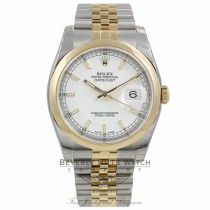 Rolex Datejust 18k Yellow Gold Stainless Steel White Index Dial Jubilee Bracelet 116203 U1WUU9 - Beverly Hills Watch Company