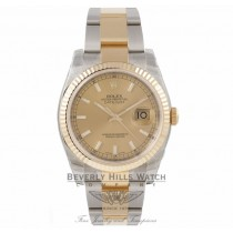 Rolex DateJust 18K Yellow Gold Stainless Steel Fluted Bezel Champagne Dial 116233 LNW66Y