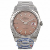 Rolex Datejust 36mm Stainless Steel White Gold Fluted Bezel Pink Index Dial 116234 HN6MCZ - Beverly Hills Watch Company Watch Store