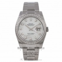 Rolex Datejust 36mm Stainless Steel Oyster Bracelet Mother of Pearl Diamond Dial Diamond Bezel 116244 PTUVT6 - Beverly Hills Watch Company