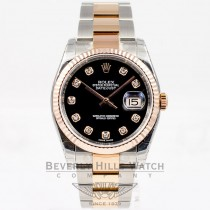 Rolex Datejust 36mm Stainless Steel and 18K Rose Gold Oyster Bracelet Fluted Bezel Black Diamond Marker Dial Watch 116243 Luxury Watches Beverly Hills