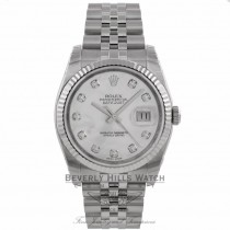 Rolex Datejust 36MM Stainless Steel White Gold Fluted Bezel White Mother of Pearl Diamond Dial 116234 X4PWU3