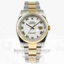 Rolex Datejust Stainless Steel and Yellow Gold Oyster Bracelet Domed Bezel White Roman Dial Automatic Watch 116233 Beverly Hills Watch Company Watches