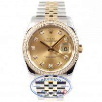 Rolex Datejust 36mm Stainless Steel and Jubille Bracelet Champagne Diamond Dial Full Diamond Bezel Watch 116243