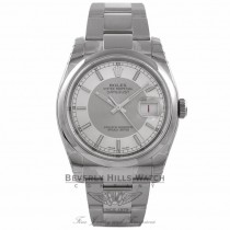 Rolex Datejust 36MM Stainless Steel Domed Bezel Steel and Silver Bulls-eye Dial 116200 1RF9CD - Beverly Hills Watch Company Watch Store