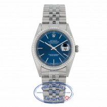 Rolex Datejust 36mm Stainless Steel Engine Bezel Blue Dial 16220 Y23Y3T - Beverly Hills Watch Company