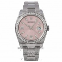 Rolex Datejust 36mm Stainless Steel Pink Wave Diamond Dial Diamond Bezel 116244 Y8T803 - Beverly Hills Watch Company Watch Store