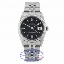 Rolex Datejust 36MM Stainless Steel 18k White Gold Fluted Bezel Black Dial Jubilee Bracelet 16234 PKW2Q2 - Beverly Hills Watch Company