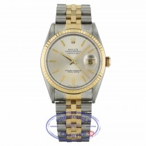 Rolex Datejust 36MM Yellow Gold Stainless Steel Fluted Bezel Silver Dial Jubilee Bracelet 16233 RR20HR - Beverly Hills Watch Company