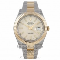 Rolex Datejust II 41mm Stainless Steel and Yellow Gold Ivory Index Dial 116333 6VUMJ2 - Beverly Hills Watch Store
