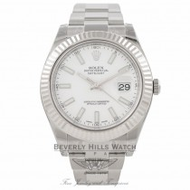 Rolex Datejust II 41MM 18k White Gold Fluted Bezel White Dial 116334 8XACVF - Beverly Hills Watch Company Watch Store