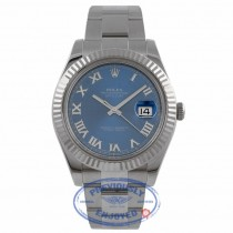 Rolex Datejust II 41mm Stainless Steel White Gold Fluted Bezel Blue Roman Dial 116334 92FLAC - Beverly Hills Watch Company Watch Store