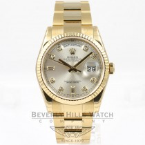 Rolex Day Date 18K Yellow Gold Oyster Bracelet 36mm Silver Diamond Dial Watch 118238 Beverly Hills Watch Company Watches