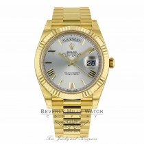 71ae12a66b763 ... Rolex Day-Date President 40MM 18k Yellow Gold Fluted Bezel Silver Dial  Roman Numeral President ...