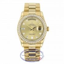 Rolex Day-Date President 36MM 18k Yellow Gold Diamond Bezel Champagne Diamond Dial 118348 AVEC20 - Beverly Hills Watch Company