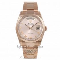 Rolex Day-Date 36MM 18k Rose Gold Domed Bezel Pink Roman 118205 7ZX1Z8 - Beverly Hills Watch Company Watch Store