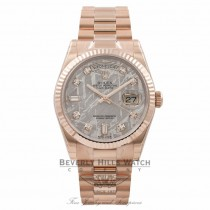 Rolex Meteorite Day-Date 36MM 18K Everose Gold Fluted Bezel Diamond Dial 118235 - Beverly Hills Watch Store