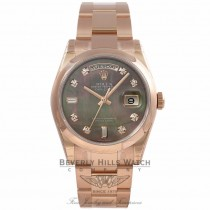 Rolex 36MM Day-Date Everose Black Mother of Pearl Diamond Dial 118205 PCXWEM - Beverly Hills Watch Company