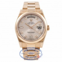 Rolex Day-Date President 36MM 18k Rose Gold Pink Champagne Diamond Dial 118205 WUMIM4 - Beverly Hills Watch Company Watch Store