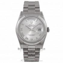 Rolex Day-Date President 36MM 18k White Gold Fluted Bezel Rhodium Dial President Bracelet 118239 DCVEMU - Beverly Hills Watch Company Watch Store