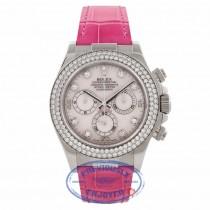 Rolex Daytona 40MM 18k White Gold Diamond Bezel Pink Mother of Pearl 116589 QTDN32 - Beverly Hills Watch Company Watch Store