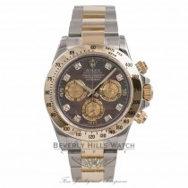 Rolex Daytona Two Tone Black Diamond Mother of Pearl Yellow Mother of Pearl Subdials 116523 8KPL58 - Beverly Hills Watch Company