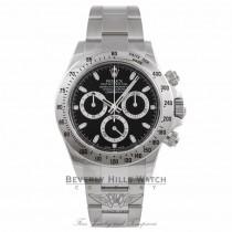 Rolex Daytona Stainless Steel Black Dial 116520 Rolex Daytona Stainless Steel Oyster Bracelet Black Dial 116520 E53CFP - Beverly Hills Watch Company Watch Store