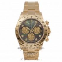 Rolex Daytona 40MM 18k Yellow Gold Dark Mother of Pearl Diamond Dial 116528 YNTZUX - Beverly Hills Watch Company Watch Store
