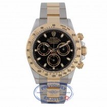 Rolex Cosmograph Daytona 40mm Yellow Gold and Stainless Steel Oyster Bracelet Black Dial 116523 RFFDHZ - Beverly Hills Watch Company