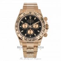 Rolex Daytona Everose Gold Oyster Bracelet Black Dial Watch 116505 60E7HT - Beverly Hills Watch Company