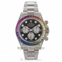 Rolex Daytona Rainbow 40MM 18k White Gold Diamond Case Sapphires Dial 116599 - Beverly Hills Watch Company Watch Store