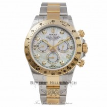 Rolex Daytona Two Tone White Diamond Mother of Pearl Yellow Mother of Pearl Subdials 116523 EJY8XJ - Beverly Hills Watch Company Watch Store