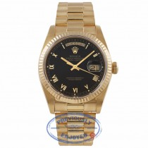 Rolex Day-Date President 18k Yellow Gold 36MM Black Dial Roman Markings 18038 13Z24R - Beverly Hills Watch Company Watch Store