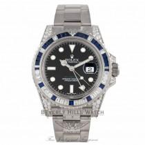 Rolex GMT MASTER II 40mm White Gold Diamond Lugs Diamond and Blue Sapphires Bezel Watch 116759SA Z5MMW3 - Beverly Hills Watch Company Watch Store