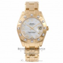 Rolex Masterpiece DateJust 34MM 18K Yellow Gold Diamond Bezel White Mother Of Pearl Dial 81318 MW6ANM - Beverly Hills Watch Store