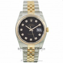 Rolex DateJust 36mm Black Diamond Dial Yellow Gold Stainless Steel Jubilee Bracelet 116233 6EX0R9 - Beverly Hills Watch Company