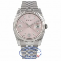 Rolex DateJust Pink Diamond Dial 18k White Gold Fluted Bezel 116234 HNYVSE - Bervely Hills Watch Company Watch Store