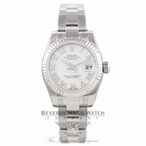Rolex Lady Datejust 26MM Stainless Steel 18k White Gold Fluted Bezel 179174 - Beverly Hills Watch Company Watch Store