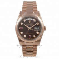 Rolex Day-Date 36mm Rose Gold President Bracelet Bronze Diamond/Ruby Dial 118205 T1T3EQ - Beverly Hills Watch Company Watch Store