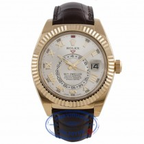 Rolex Sky Dweller Silver Dial 18k Yellow Gold Brown Leather Strap 326138 RM53HR - Beverly Hills Watch Company Watch Store