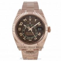 Rolex Sky Dweller Rose Sunray Chocolate Dial 18K Everose Gold 326935 9816PF - Beverly Hills Watch Company